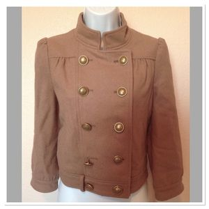 Anthropologie Idra Tan Double Breasted Coat Size 2